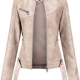 Tagoo Faux Leather Jacket Women Bomber Jacket Cropped Jacket Moto Coat for Biker with Belt   Amazon (US)