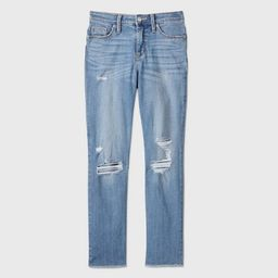 Women's High-Rise Distressed Straight Cropped Jeans - Universal Thread™ Medium Blue   Target