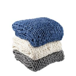 """Silver One Super Chunky Knitted Throw Blanket, Cream, 50"""" x 60"""" 