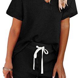 MEROKEETY Women's Long Sleeve Pajama Set Henley Knit Tops and Shorts Sleepwear Loungewear   Amazon (US)