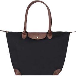 Waterproof Tote Shoulder Bag for Women Foldable Tote Bag Portable Handbag - Black | Amazon (US)