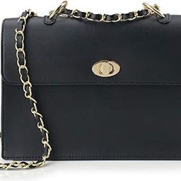 Women Chain Shoulder Handbag with Turn Lock Minimalist Flap Top Cross Body Bag Purse | Amazon (US)