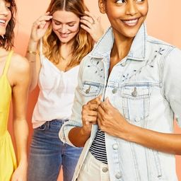 Light-Wash Embroidered-Cutwork Jean Jacket for Women | Old Navy (US)