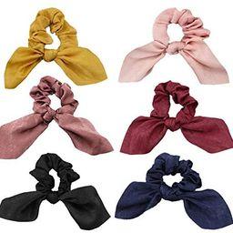 JIRIS 6 Pcs Satin Silk Hair Scrunchies Rabbit Bunny Ear Bow Bowknot Scrunchie Bobbles Elastic Hai...   Amazon (US)