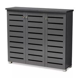 3 Door Adalwin Wooden Entryway Shoe Storage Cabinet Gray - Baxton Studio | Target