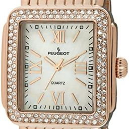 Peugeot Women Rectangle Dress Watch with Crystal Decorated Bezel, Roman Numerals and Bracelet   Amazon (US)
