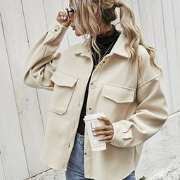 Flap Pocket High Low Hem Coat   SHEIN