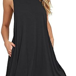 HAOMEILI Women's Summer Casual Swing T-Shirt Dresses Beach Cover up with Pockets | Amazon (US)