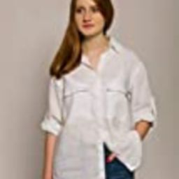Women's White Linen Shirt - Casual Button Down Shirt with Two Pockets - Different Sizes | Amazon (US)