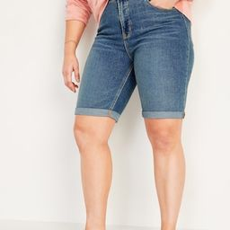 High-Waisted Cuffed Bermuda Jean Shorts for Women -- 9-inch inseam | Old Navy (US)