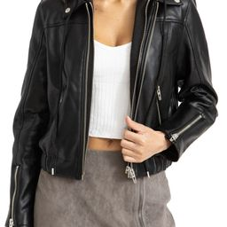 Faux Leather Bomber Jacket with Removable Hood | Nordstrom | Nordstrom