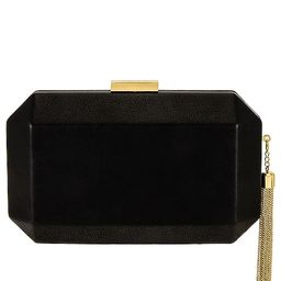 Lia Facetted Clutch With Tassel in Black | Revolve Clothing (Global)