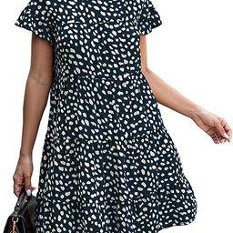 KIRUNDO 2021 Summer Women's Ruffle Mini Dress Short Sleeves Leopard Floral Round Neck Loose Ple...   Amazon (US)