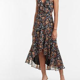 Floral Ruffle Wrap Hi-Lo Maxi Dress | Express