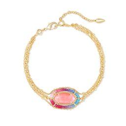 Threaded Elaina Gold Multi Strand Bracelet in Coral Illusion | Kendra Scott