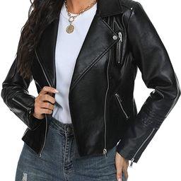 Fahsyee Women's Leather Jackets, Faux Motorcycle Plus Size Moto Biker Coat Short Lightweight Vega... | Amazon (US)