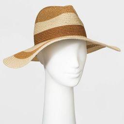 Women's Striped Paper Straw Fedora Hat - Universal Thread™ Brown | Target