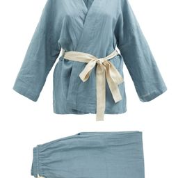 01 long linen pyjama set   Deiji Studios   Matchesfashion (UK)