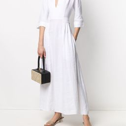 V-neck linen maxi dress | Farfetch (US)