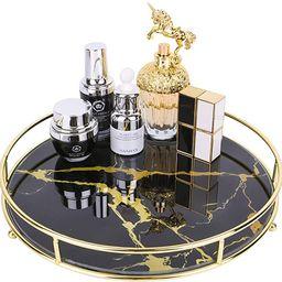 ZosenleyMakeup Organizer Tray, Decorative Glass Vanity Tray for Perfume, Jewelry and Décor, Roun... | Amazon (US)