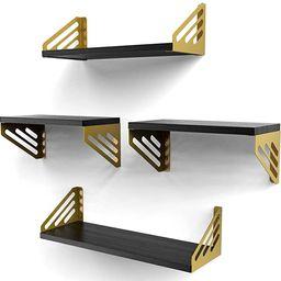 ELIAUK Floating Shelves Wall Mounted,Rustic Wood Wall Shelves Set of 4 Storage Shelves for Bedroo... | Amazon (US)