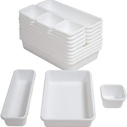 BYCY 18 Pcs White Drawer Organizers Trays Set Drawer Dividers for Kitchen Office Bathroom, Interl... | Amazon (US)