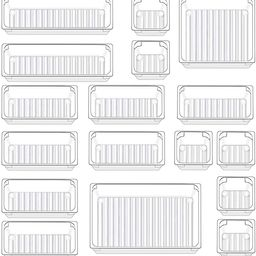 Qozary 17 Pack Clear Plastic Drawer Organizer Containers, Storage for Desk Drawers Trays, Kitchen... | Amazon (US)