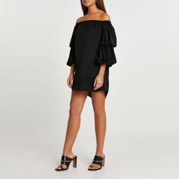 Black double puff sleeve bardot mini dress | River Island (UK & IE)