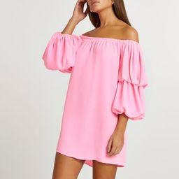 Pink double puff sleeve bardot mini dress | River Island (UK & IE)