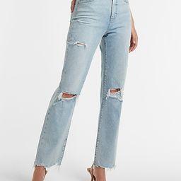 Super High Waisted Ripped Raw Hem Modern Straight Jeans | Express