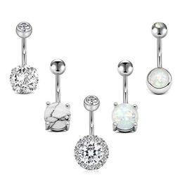 LAURITAMI Belly Button Rings Surgical Steel Belly Ring 14G Opal CZ Navel Piercings Jewelry for Women   Walmart (US)