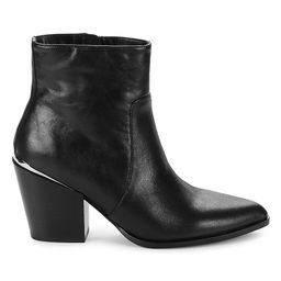 Saks Fifth Avenue Women's Dolly Leather Block Heel Booties - Black - Size 8 | Saks Fifth Avenue OFF 5TH