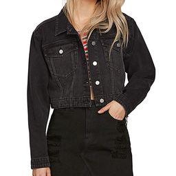 Volcom Women's Denim Jackets WBL_WORN - Worn Black Wash Crop 'N' Block Denim Jacket - Juniors | Zulily