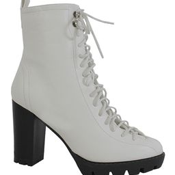 Yoki Women's Casual boots WHITE - White Lace-Up Bootie - Women | Zulily