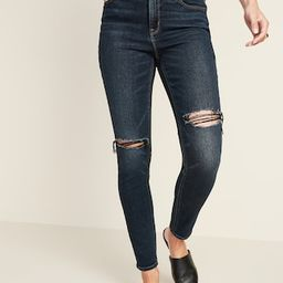 High-Waisted Ripped Dark-Wash Rockstar Super Skinny Jeans for Women   Old Navy (US)