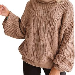 ZESICA Women's Long Sleeve Turtleneck Chunky Knit Loose Oversized Sweater Pullover Jumper Tops   Amazon (US)