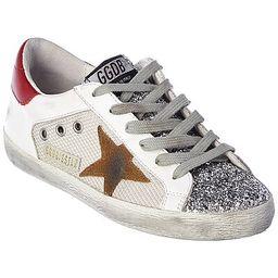Golden Goose Superstar Leather-Trim Sneaker | Gilt