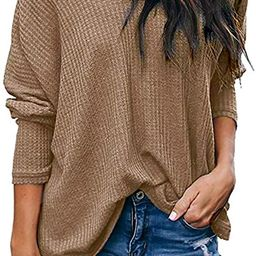 LuckyMore Women's Casual Off Shoulder Tops V Neck Waffle Knit Shirt Batwing Sleeve Loose Pullover...   Amazon (US)