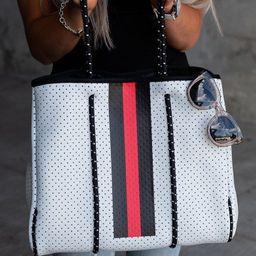 White Striped Neoprene Tote | Mindy Mae's Market