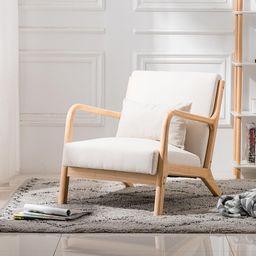 UBesGoo Modern Mid Century Accent Chair Living Room Single Sofa Cafe Lounge Chair Beige - Walmart... | Walmart (US)