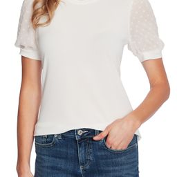 Puff Sleeve Mixed Media Top | Nordstrom