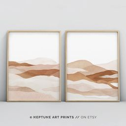 Set of 2 Piece Neutral Wall Art, Abstract Painting, Wall Art Prints, Beige Print, Instant Digital... | Etsy (US)