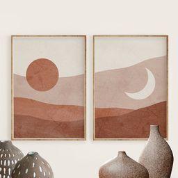 Boho Sun and Moon Print Set of 2, Abstract Landscape, Terracotta Printable Mid Century Modern Min... | Etsy (US)