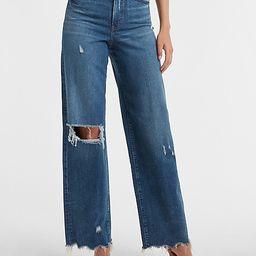 Super High Waisted Ripped Raw Hem 90s Wide Leg Jeans   Express