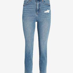 Super High Waisted Ripped Raw Step Hem Mom Jeans   Express