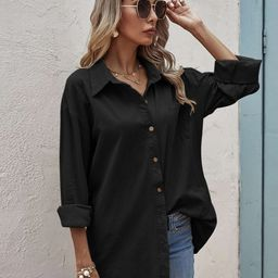 Solid Pocket Front Button Up Blouse   SHEIN