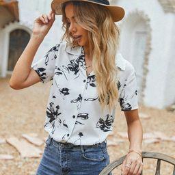 Floral Print Lapel Collar Blouse | SHEIN