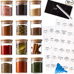 Stylvio 12 Pcs 4oz Glass Spice Jars with Airtight Natural Bamboo Lids Set, 12 Seasoning Jars with... | Amazon (US)