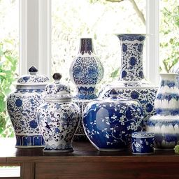 Blue & White Ginger Jar with Lid, Melon | Williams-Sonoma