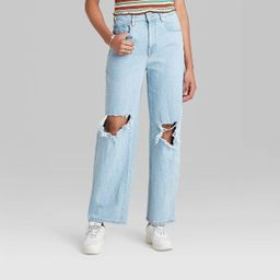 Women's Super-High Rise Distressed Baggy Jeans - Wild Fable™ Light Wash   Target